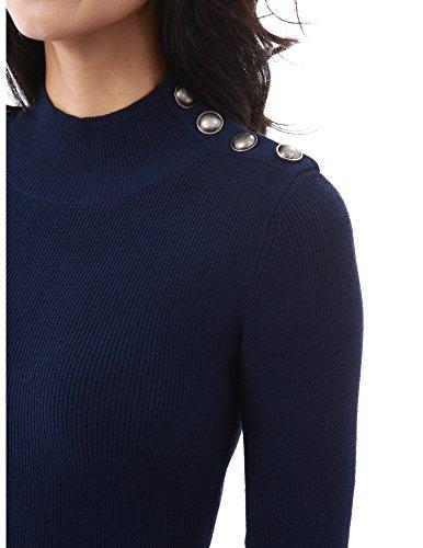PattyBoutik Mujer El suéter embellecido del botón del cuello del mock azul oscuro