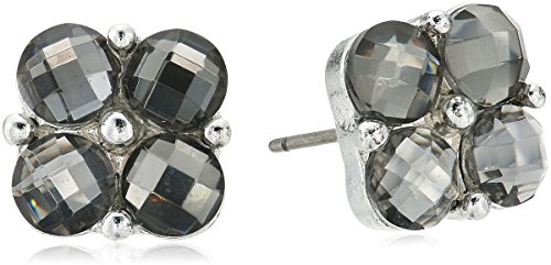 Napier Gray-Tone Cluster Bead Stud Earrings