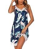 Ekouaer Womens Chemise Sleepwear Full Slips Lace Nightgown Cotton Jersey Lingerie (Blue Leaves, X-Large)