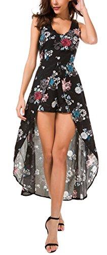 - KorMei Womens Sleeveless Scoop Neck Floral Rayon Party Split Maxi Romper Dress M Black
