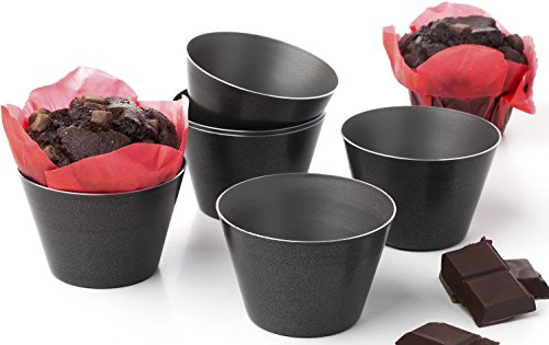 Set of 6 Nonstick Individual Molds Chocolate Molten Pans Pudding Cups Raspberry Souffle Pot Pie Darioles Ramekins Brownies Tumblers Popovers - Size 3.2 Inches (4 Cup Muffin Pan)