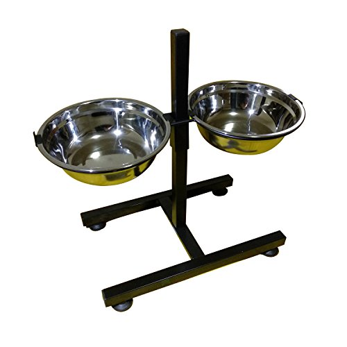 Adjustable Height Double Diner - BobbyPet Adjustable Raised Double Stainless Steel Dog Diner Bowls. H-Style Height Elevated Standing with 2.2QT Dual Dog Dish