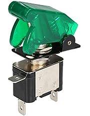 مفتاح تبديل للسيارة رقم 1 من RuleaxAsi 12 فولت 20 أمبير LED ضوء تبديل محرك تشغيل زر غطاء أخضر