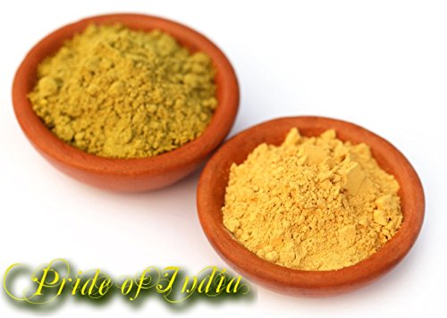 Pride Of India - Fuller's Earth Deep Cleansing Clay Powder w/ Turmeric & Sandalwood, Half Pound, 100% Natural
