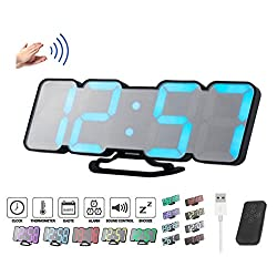 ZzPro Digital LED Wall Clock with wireless remote control 115 color-changing digital alarm clock voice control mode 3 levels of brightness adjustment