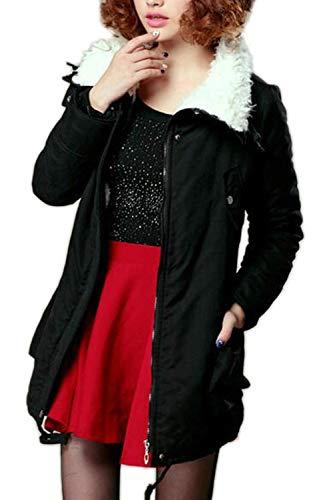 fausse Vestes col en manteau veste Automne mode vêtements femmes asymétrique poches Pure élégante avec Manteaux Color Stlie jolie fourrure Black manche manteau Long Hiver wT40q