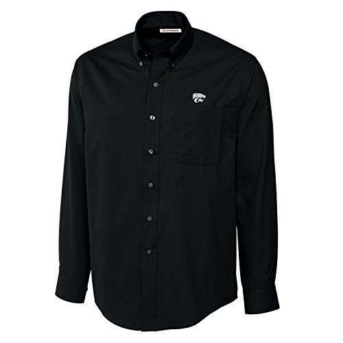 Cutter & Buck NCAA Kansas State Wildcats Men's Long Sleeve Epic Easy Care Fine Twill Shirt, Large, Black