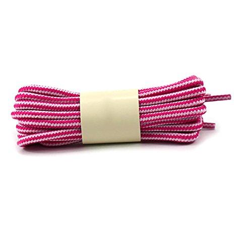 Yatoy Bande Ronde Lacets Colorés Pour Cordon De Remplacement Des Chaussures Baskets Et Bottes Blanches Et Rose Rouge