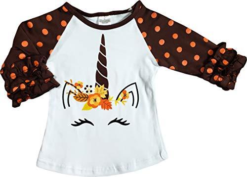 Boutique Clothing Girls Fall Colors Thanksgiving Unicorn Raglan T-Shirt 4T/L -