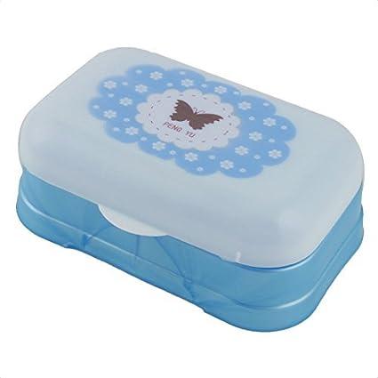 eDealMax Flor de plástico Pintado casero del patrón de baño Jabón contenedor caja Azul Blanco