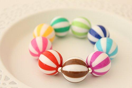 Chunky Summer Beach Ball Sports Gift Jewelry Stretch Bracelet 7.5
