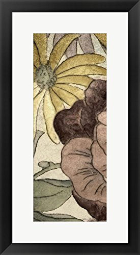 Great Art Now Earthtone Floral Panel IV by Catherine Kohnke Framed Art Print Wall Picture, Black Frame, 15 x 27 - Panel Earthtone Floral