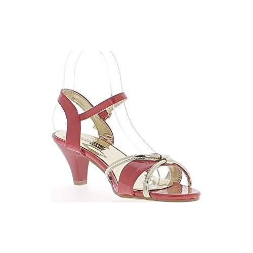 Sandales rouges à petits talons épais de 6,5cmavec brides dorées