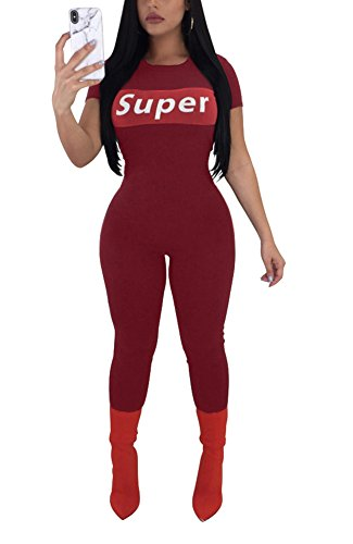 eb90100b02 Felicity Young Women s Casual Short Sleeve Round Neck Bodycon Long Jumpsuit  Romper Pants Clubwear Playsuit Graphic