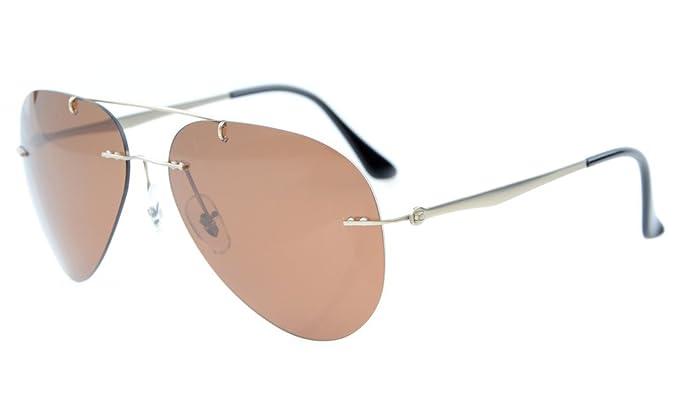 a05b6518b59 Eyekepper Titanium Style Rimless Polarized Sunglasses Brown Lens ...