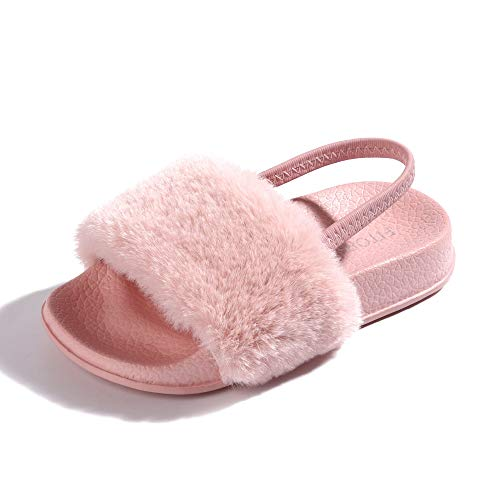 FITORY Girls Sandals Toddler, Faux Fur Slides with Elastic Back Strap Flats Shoes for Kids Pink