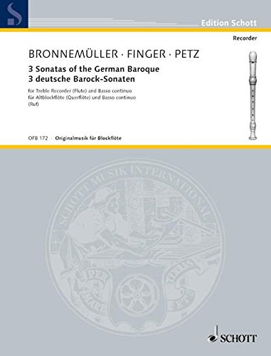 SCHOTT THREE SONATAS OF THE GERMAN BAROQUE - TREBLE RECORDER AND BASSO CONTINUO Partition classique Bois Flûte à bec ()