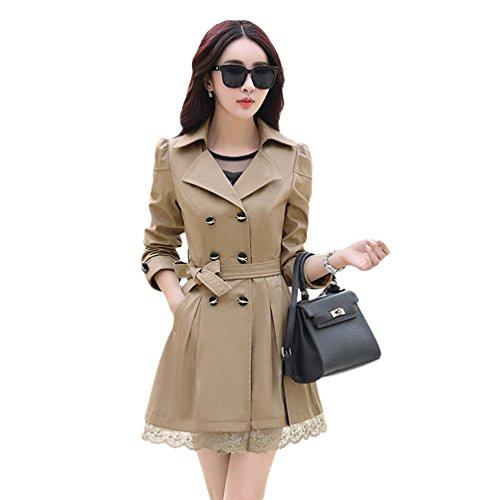 Double Coat Femmes Fit Revers Long Lace YuanDian Midi Casual Slim Printemps Automne Trench Boutonnage 1P8RSq