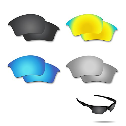 Fiskr Polarized Replacement Lenses for Oakley Half Jacket 2.0 XL Sunglasses 4 Pairs - Lenses Half Original Replacement Jacket