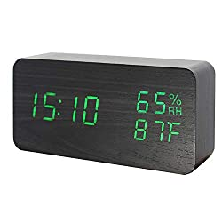 GO HAND Wooden Alarm Clock LED Electronic Digital Temperature and Humidity Table Home Bedroom Travel Clock with Sound Control Function (Black Wood Green Light)
