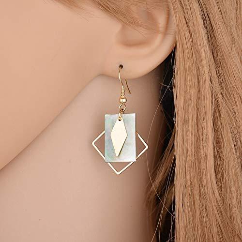 Fiery Summer Asymmetric Geometric Rhombus Earring Metal Simple Drop Dangle Earring Bohemian Earring for Women Girl Bar Party Fashion Jewelry