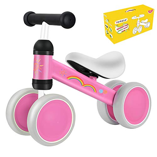 Verkstar Baby Balance Bikes Toddler Bike 10-24 Months No Pedal Bicycles Tricycles Infant Walker Non-Slip Bikes 4 Wheels Toddler First Birthday New Year Gift