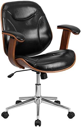 Flash Furniture Mid-Back Black LeatherSoft Executive Ergonomic Wood Swivel Office Chair