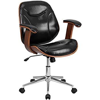 flash furniture midback black leather executive wood swivel chair with arms