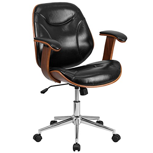 Flash Furniture Mid-Back Black Leather Executive Wood Swivel Chair with Arms