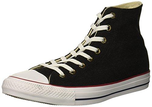 (Converse Chuck Taylor All Star Denim HIGH TOP Sneaker, Black/White/Brown, 12 M)