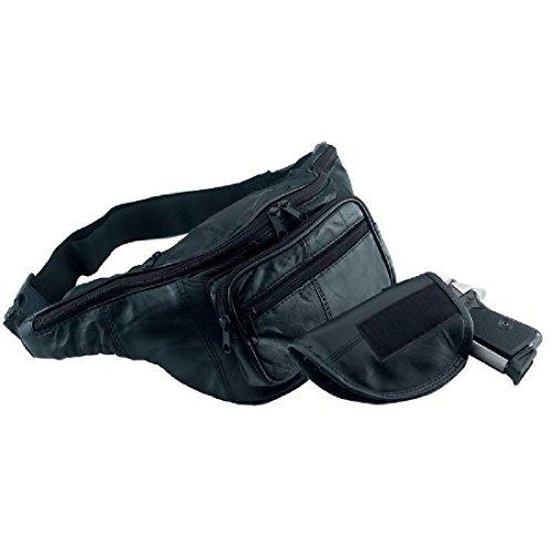 Black Solid Leather Fanny Pack Gun Holster Waist Hip Belt Bag Mens Womens