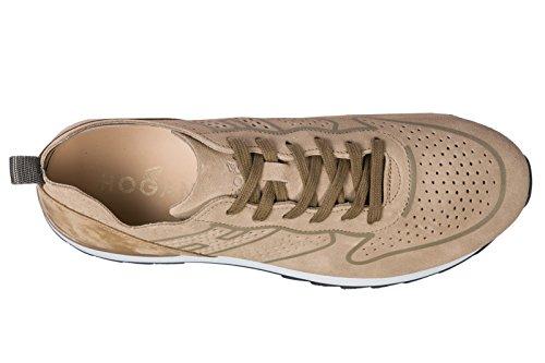 Hogan Mænds Sko Mænd Ruskind Sneakers Sko R261 Beige 4CDJSo