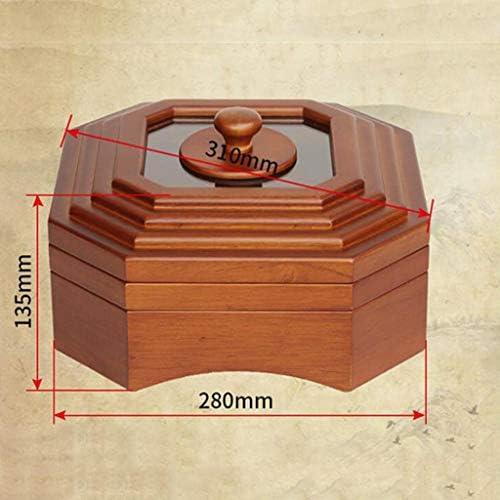 フルーツボウル フルーツボウルストレージ干し2層木製ナットボックスふた付きラック、大容量のパーティションデザインのキッチンカウンターとリビングルームスナック菓子キャンディトレイプレートディスプレイスタンド、28x13.5cm