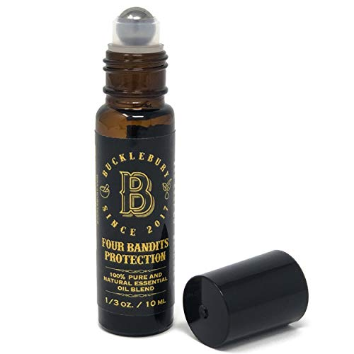 Bucklebury Aromatherapy Oil Roller Bottle - Four Bandits Protection   Roll On Essential Oil for Immune Support   Safe and Easy to Apply   Perfect for Travel, Back to School and Vacations - 10 ml