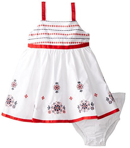 Hartstrings Baby Girls' Cotton Poplin Dress with Coordinating Diaper Cover, White, 18 Months