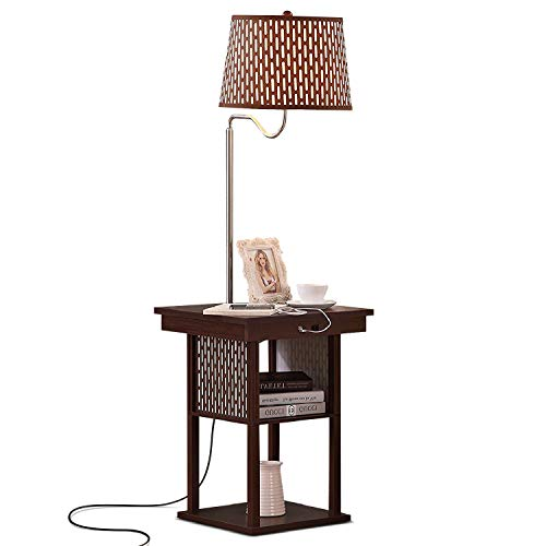 Brightech - Madison LED Floor Lamp with USB Charging Ports - Mid Century Modern Bedside Nighstand Table - End Table with Shelves for Living Room Sofas - Havana Brown ()