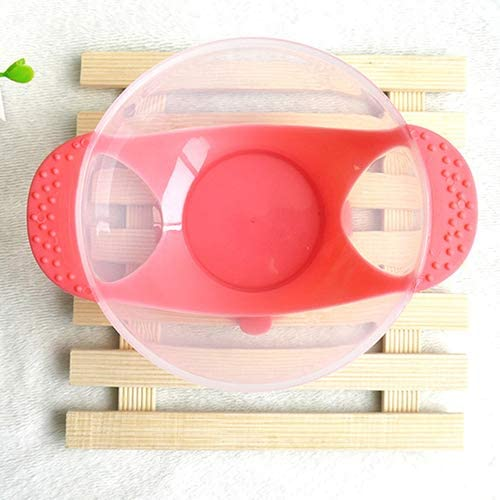shyymaoyi Baby Bowl Set,Suction Temperature Color Changing Spoon Bowl with Lid Tableware Set Red