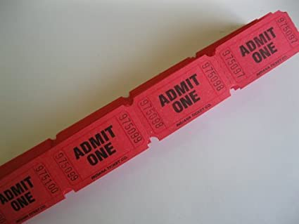 amazon com 100 red admit one consecutively numbered raffle tickets