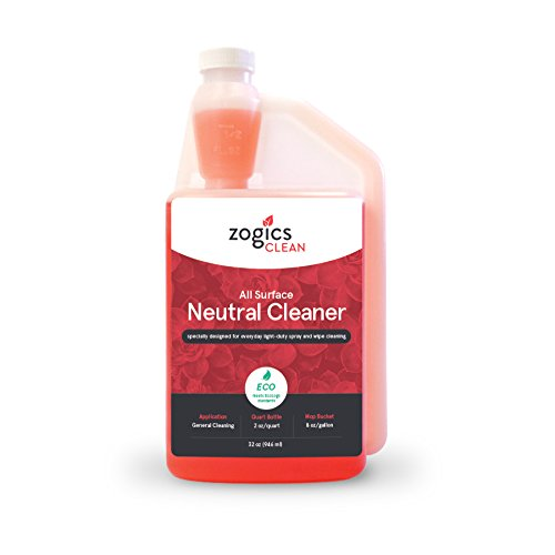 Zogics All Surface Neutral Cleaner, 32 oz Bottle Makes up to 16 Gallons - Meets ECOLOGO Standards