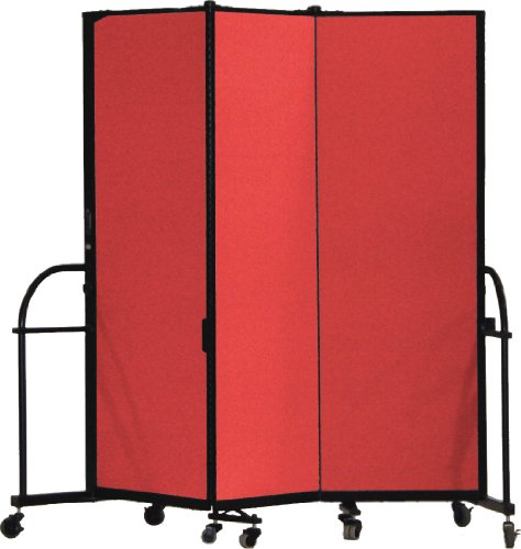 Screenflex Heavy Duty Portable Room Divider (HFSL605-DR) 6 Feet High by 9 Feet 5 Inches Long, Designer Red Fabric by Screenflex