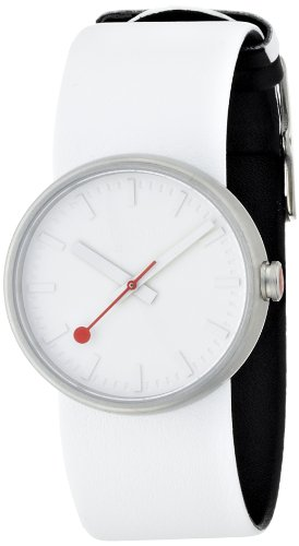 Mondaine 'SBB' Quartz Stainless Steel and Leather Casual Watch, Color:White (Model: A658.30306.16SBA)