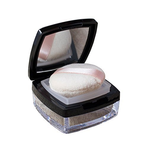 15Gram Empty Square Foundation Make-up Powder Puff Box Case Container Compact with Mirror Sifter and Black Filp Lip Powder Puff Free