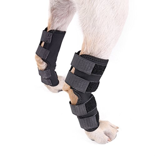 Speedy Pet Dog Back Leg Brace, Dog Canine Rear Leg Hock Joint Wraps Protects Wounds as they Heal Compression Brace Heals,Prevents Injuries and Sprains Helps Arthritis L 2pcs