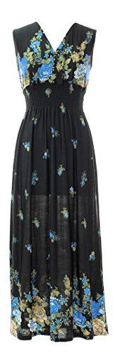 (Plum Feathers Exotic Print Smocked Waist Maxi Dress Plus & Regular Sizes Black Floral m)