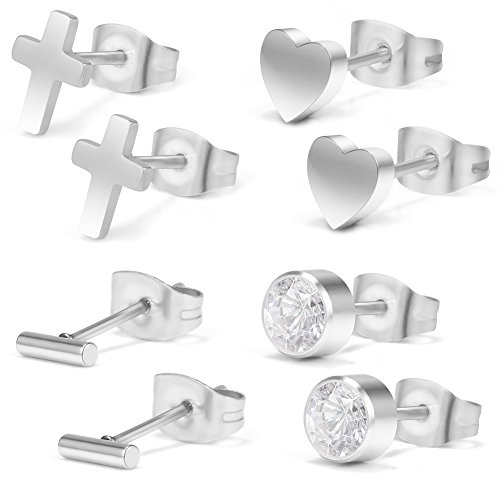 Ruifan 4Pairs 20G Stainless Steel Mens Womens Jeweled CZ & Cross & Heart & Strip Tragus Earrings Helix Earring Cartilage Stud Body Jewelry Piercing Set 6mm - - Bag Jeweled Heart