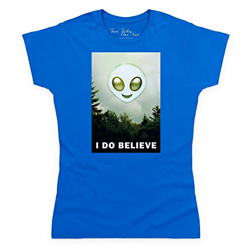 Official Two Tribes Emoji - I Do Believe Alien Camiseta, Para mujer Azul real
