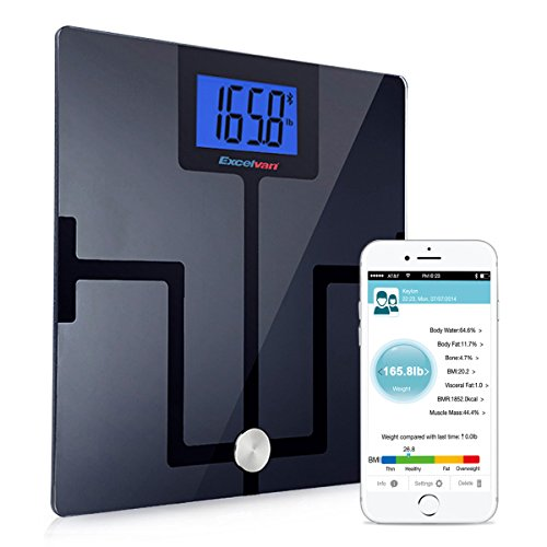 Excelvan Bluetooth Weight Body Fat Smart Scale with App for iOS and Android Devices( 8 Body Composition Measurements-Weight, Fat, Body Water, Bone Mass, Muscles Mass, Visceral Fat, BMI, BMR) (Curve) (Smart Phone Weight Scale)