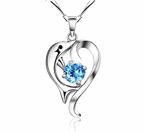 Lingduan Fashion Women's Animal Lover Jewelry 925 Sterling Silver Polished Dolphin Swarovski Crystal Lovely Dolphin Pendant Necklace Jewelry(Sapphire) ()