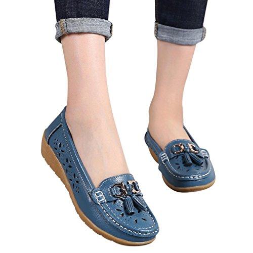 Women Workout Boat Shoes,Hemlock Hot Sales Slip-On Wedges Shoes Platforms Flats Sandals Outdoor Soft Bottom Espadrilles (US:6, Blue)