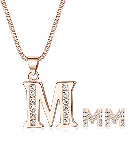 ORAZIO Initial Necklace Earrings for Women Girls Alphabet Letter M Pendant Necklace Stud Earrings Jewelry Set